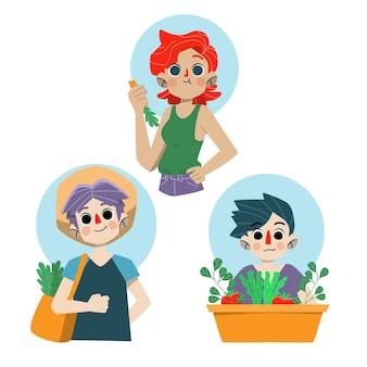 Śliczni ludzie zielonego stylu życia z roślinami