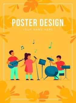 Śliczni młodzi muzycy w szablonie plakatu festiwalu muzyki szkolnej