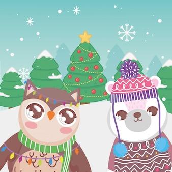 Śliczni niedźwiedzia polarnego i sowy drzewa śnieżni wesoło boże narodzenia