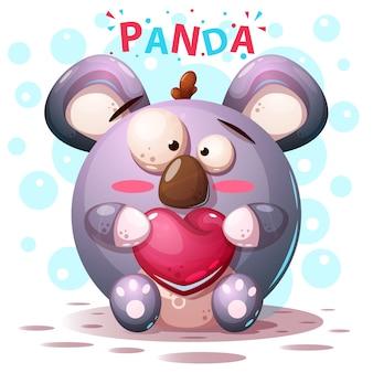 Śliczni panda charaktery - kreskówki ilustracja
