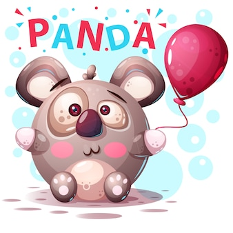 Śliczni panda charaktery - kreskówki ilustracja.
