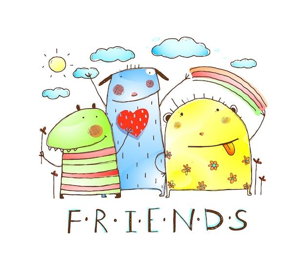 Śliczni przyjaciele potwora zwierzęta z chmurami i tęczą