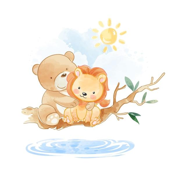 Śliczni przyjaciele zwierząt siedzący na ilustracji gałęzi drzewa