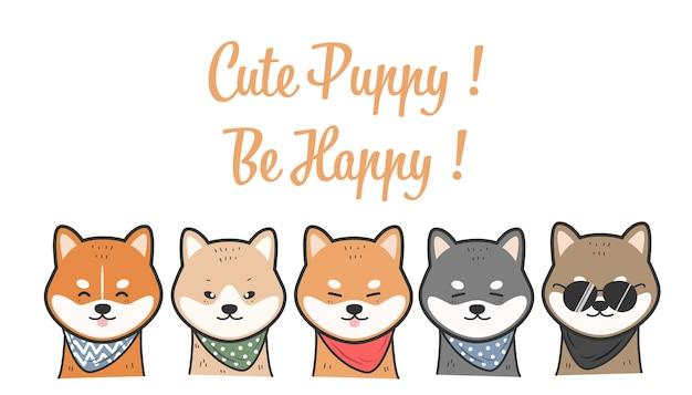Śliczni shiba inu psy uśmiechają się charakter kreskówki doodle