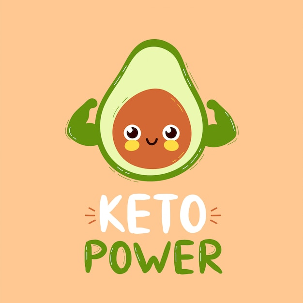 Śliczni silni uśmiechnięci szczęśliwi avocado przedstawienia mięśnia bicepsy. projekt karty mocy keto. płaskiego postać z kreskówki ikony ilustracyjny projekt. pojedynczo na białym tle. koncepcja znaków awokado
