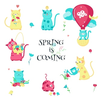 Śliczni śmieszni wiosna kotów odosobniona ilustracja
