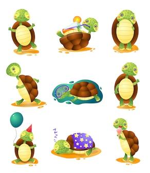 Śliczni śmieszni żółwie w różnych pozach ustawiają odosobnionego na białym tle