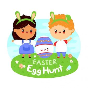 Śliczni szczęśliwi śmieszni dzieciaki i easter jajko. projekt postać z kreskówki płaski. pojedynczo na białym tle. pisanki polować plakat, koncepcja transparent