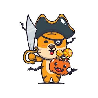 Śliczni tygrysi piraci z mieczem niosący halloweenową dynię śliczna halloweenowa ilustracja kreskówka