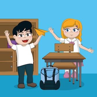 Śliczni uczni dzieciaki w sala lekcyjna kreskówkach wektorowego ilustracyjnego graficznego projekta