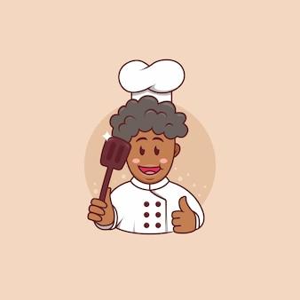 Śliczny afrykański czarny człowiek szef kuchni maskotka logo charakter ładny styl kreskówek