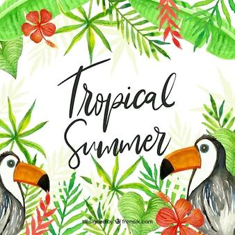 Śliczny akwarela tropikalny tło