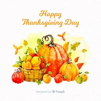 Śliczny akwareli dziękczynienia dzień tło