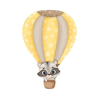Śliczny akwareli szop pracz lata w balonie, akwareli ilustracja. styl boho