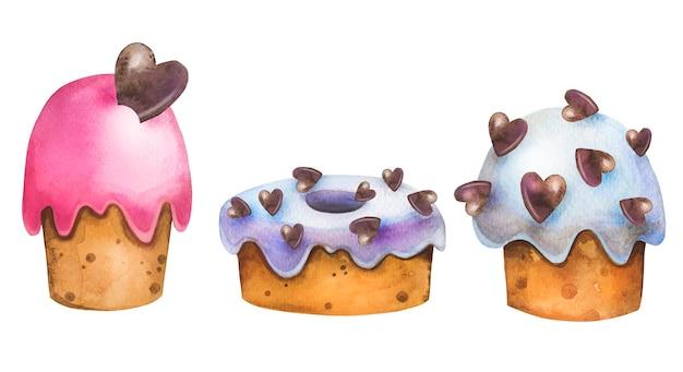 Śliczny akwarelowy zestaw cukierniczy z wielkanocnymi, urodzinowymi tortami, deserami