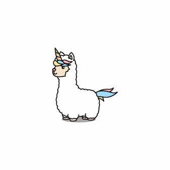 Śliczny alpakowy jednorożec kreskówki wektor