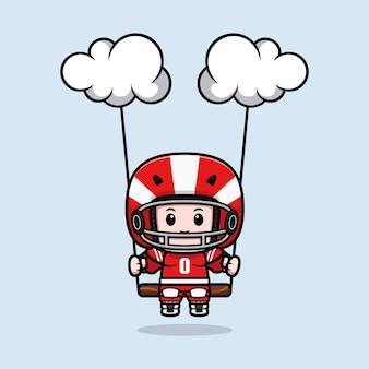 Śliczny amerykański piłkarz kołyszący się na ilustracji maskotki w chmurze