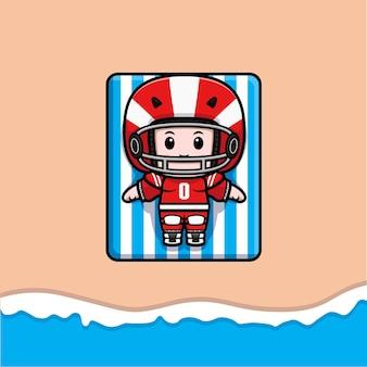 Śliczny amerykański piłkarz opalający się na plaży maskotka ilustracja