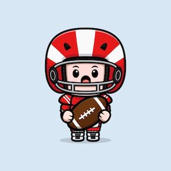 Śliczny amerykański piłkarz trzymający ilustrację maskotka piłka