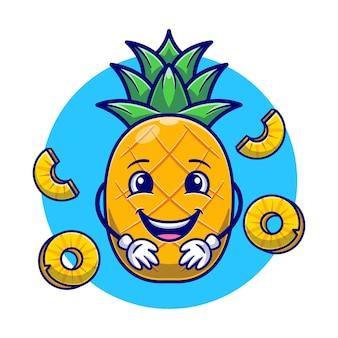 Śliczny ananas i plasterek ananasa
