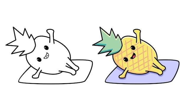 Śliczny ananas robi joga kolorowanka dla dzieci