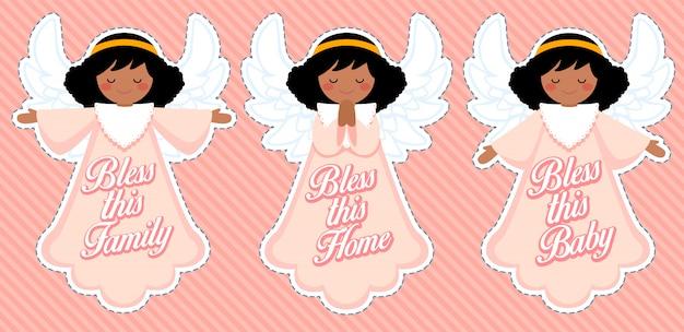 Śliczny anioł błogosławieństwa, dekoracja dla dziewczynki afro