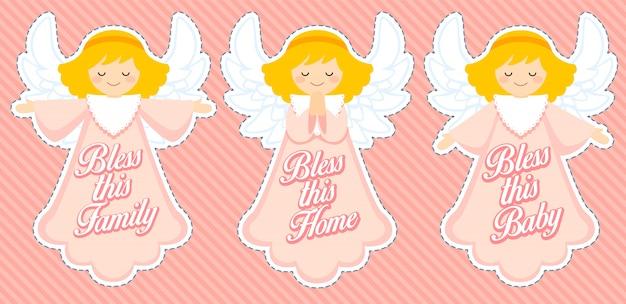 Śliczny anioł błogosławieństwa, dekoracja dziewczynki