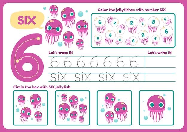 Śliczny arkusz roboczy numer sześć dla dzieci