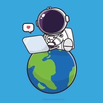 Śliczny astronauta kawaii