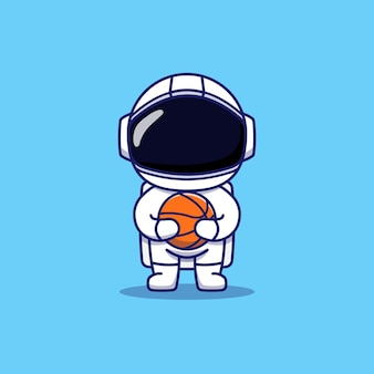 Śliczny astronauta niosący koszykówkę basket
