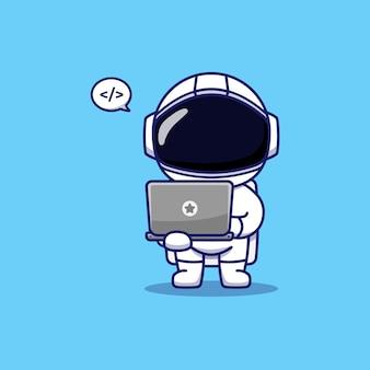 Śliczny astronauta niosący laptopa i kodujący