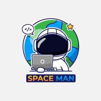 Śliczny astronauta niosący logo laptopa