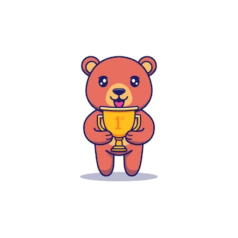 Śliczny astronauta niosący złote trofeum