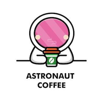 Śliczny astronauta pije filiżankę kawy kreskówka astronauta logo kawy ilustracja