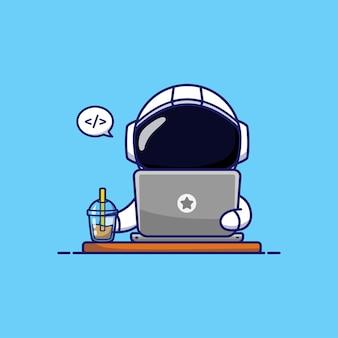 Śliczny astronauta pracujący jako programista