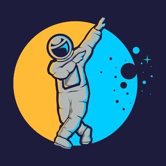 Śliczny astronauta w stylu hip hop