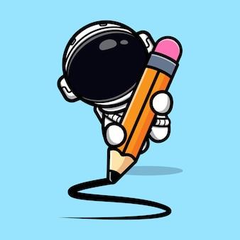 Śliczny astronauta z ołówkową maskotką