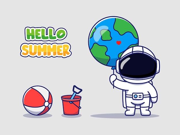 Śliczny astronauta z powitaniem na lato