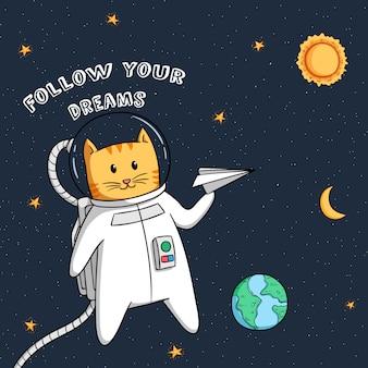 Śliczny astronautyczny kot z papierowym samolotem