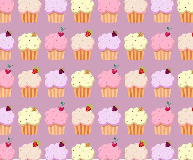 Śliczny babeczka wzór w pastelowych kolorach. słodki deser plakat, szablon transparent