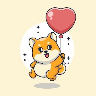 Śliczny baby shiba inu pies latający z balonem kreskówki