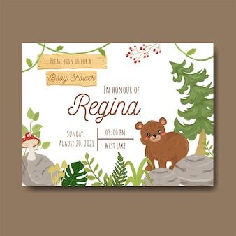 Śliczny baby shower chłopiec i dziewczynka zaproszenie karty leśny szablon z niedźwiedziem leśnym grzybem