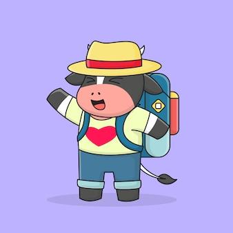 Śliczny backpacker krowy w kapeluszu i plecaku