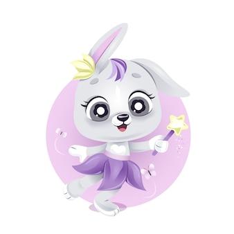 Śliczny bajkowy królik z różdżką