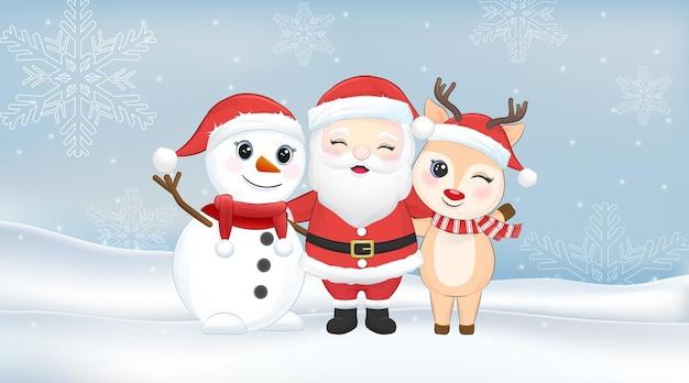 Śliczny bałwan świętego mikołaja i jeleń w zimowym okresie świątecznym