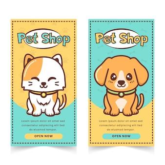 Śliczny baner sklepu zoologicznego z postacią kota i szczeniaka