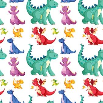 Śliczny bezszwowy dinosaura wzór