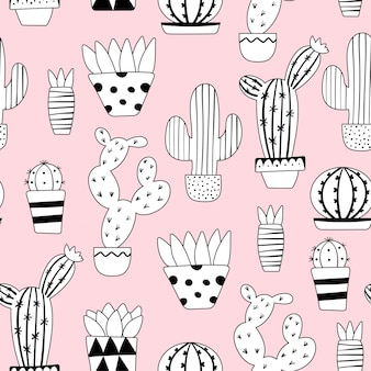 Śliczny bezszwowy kaktusa wzór