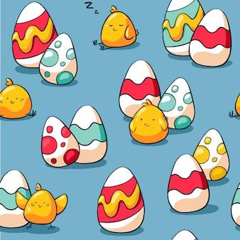 Śliczny bezszwowy wielkanoc wzór z kurczakiem i jajkami