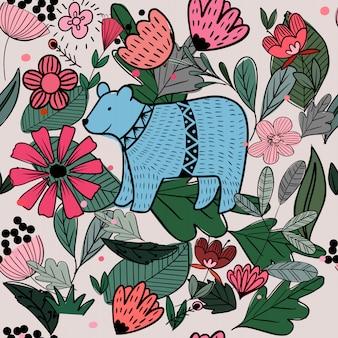 Śliczny bezszwowy wzór niedźwiedź i dziki kwiat